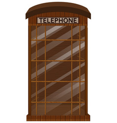 Wooden telephone booth with glass door vector