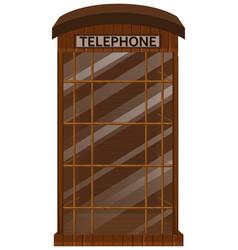 wooden telephone booth with glass door vector image