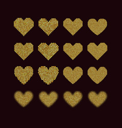a set of halftone hearts vector image vector image