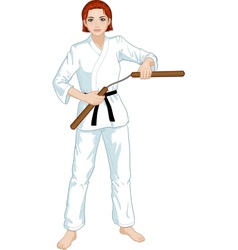 Caucasian Nunchuck girl in karategi vector image