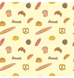 Seamless of Bread and bakery vector image vector image