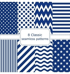 Set of 8 classic seamless patterns vector image vector image