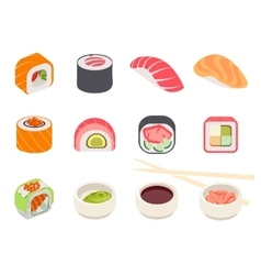 Colorful Sushi Set vector image vector image