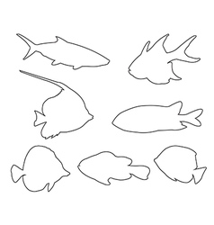 Fish Set Path on the white background vector image