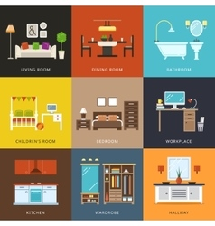 Interior of different rooms types vector image