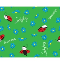 ladybugs with blue flowers vector image vector image