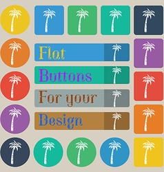 Palm icon sign Set of twenty colored flat round vector image vector image