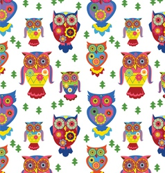 seamless owls pattern 2 vector image vector image
