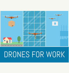 set of drones with remote control drone for vector image vector image