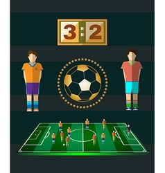 Soccer Match Scoreboard and Players vector image