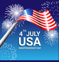 american flag with fireworks for independence day vector image vector image