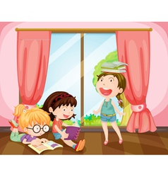 girls studying in room vector image