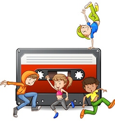 People dancing and casette tape vector image vector image