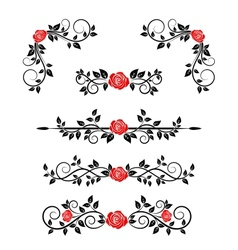 Roses with floral embellishments vector image