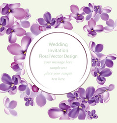 spring delicate lilac flowers bouquet card vector image vector image