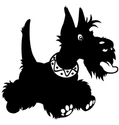 cartoon scottish terrier black white vector image vector image