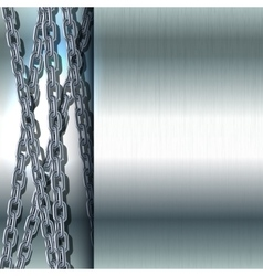 Chain stainless steel on metal background vector image