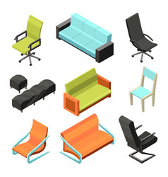 different office chairs isometric vector image vector image