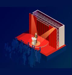 music award winner announcement isometric poster vector image vector image