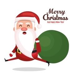 santa claus run bag gift merry christmas design vector image vector image