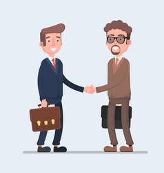 two smiling businessmen shaking hands together vector image