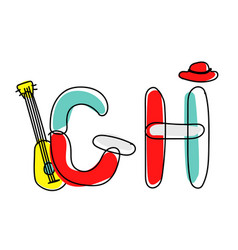 accendent fontchild alphabet with vector image