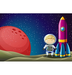 An explorer beside the rocket in the outerspace vector