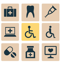 Antibiotic icons set collection of pills vector