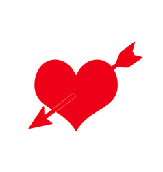 arrow going through heart red love sign vector image