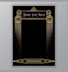 art deco golden black page template vector image
