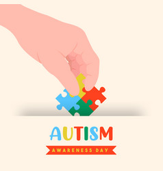 Autism awareness day puzzle game hand card vector