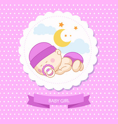 Baby new born girl blue card shower template vector