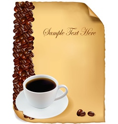 background menu with cup of coffee vector image