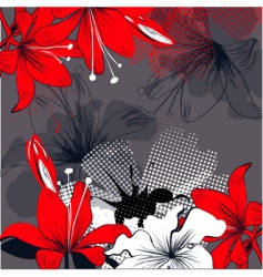 background with red lily flowers vector image