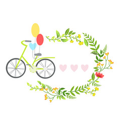 Bicycle with balloons and floral round frame with vector