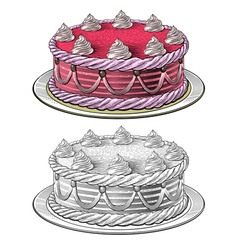 Birthday cake in engraving style vector
