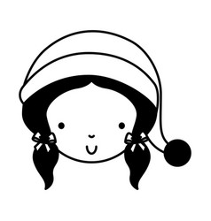Black icon christmas little girl vector