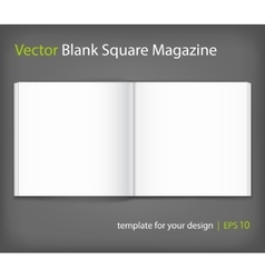 Blank of open square magazine on grey background vector image