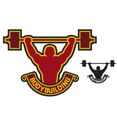 bodybuilding badge - weightlifter vector image