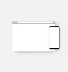 browser window with mobile phone mockup vector image