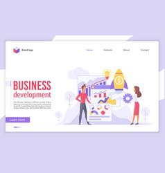 Business development flat landing page vector