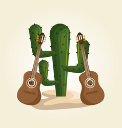 cactus with mexican culture icons vector image