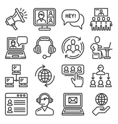 call center and communication services icons set vector image