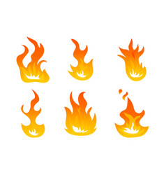 cartoon fire flames set ignition light vector image