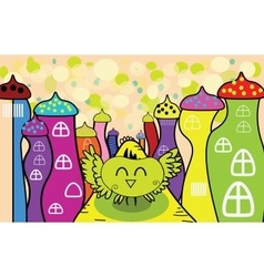 cartoon happy owl in the fairy town vector image vector image