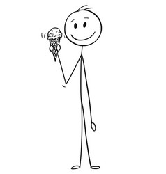 cartoon of man holding ice cream cone vector image