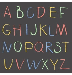 Chalk color hand drawing alphabet on a blackboard vector image