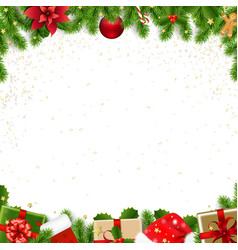 christmas border with fir tree white background vector image