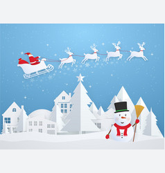 christmas card with santa claus flying over city vector image