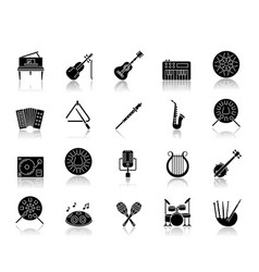 classical musical instrument drop shadow black vector image